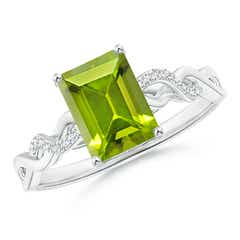 Solitaire Emerald Cut Peridot and Diamond Infinity Twist Ring