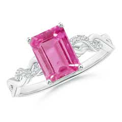 Emerald-Cut Solitaire Pink Sapphire Infinity Twist Ring