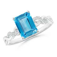 Emerald Cut Swiss Blue Topaz and Diamond Infinity Twist Ring