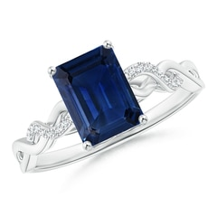 Emerald-Cut Solitaire Sapphire Infinity Twist Ring