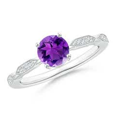 Classic Round Amethyst Solitaire Ring with Quad Diamond Accents