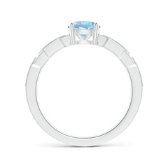 Toggle Classic Round Aquamarine Solitaire Ring with Diamond Accents