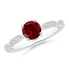 Classic Round Garnet Solitaire Ring with Quad Diamond Accents