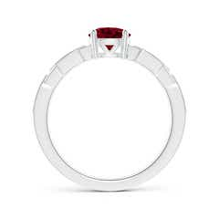 Toggle Classic Round Garnet Solitaire Ring with Diamond Accents