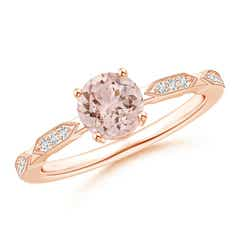 Classic Round Morganite Solitaire Ring with Diamond Accents