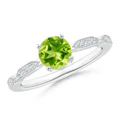 Classic Round Peridot Solitaire Ring with Quad Diamond Accents