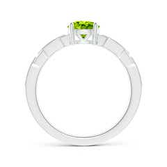 Toggle Classic Round Peridot Solitaire Ring with Diamond Accents