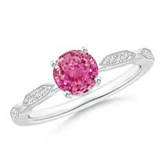 Classic Round Pink Sapphire Solitaire Ring with Quad Diamond Accents