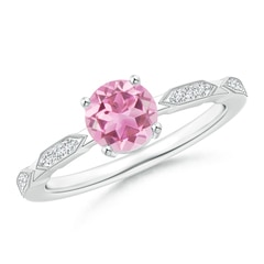 Classic Round Pink Tourmaline Solitaire Ring with Diamonds