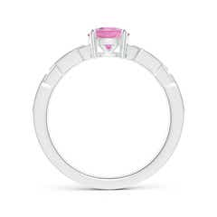 Toggle Classic Round Pink Tourmaline Solitaire Ring with Diamonds