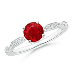 Classic Round Ruby Solitaire Ring with Quad Diamond Accents