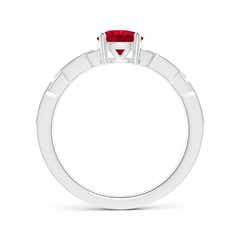 Toggle Classic Round Ruby Solitaire Ring with Diamond Accents