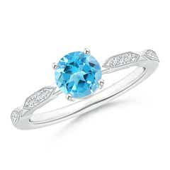Classic Round Swiss Blue Topaz Solitaire Ring with Diamonds