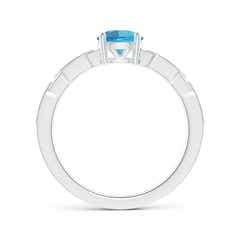 Toggle Classic Round Swiss Blue Topaz Solitaire Ring with Diamonds