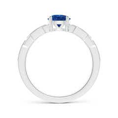 Toggle Classic Round Sapphire Solitaire Ring with Diamond Accents