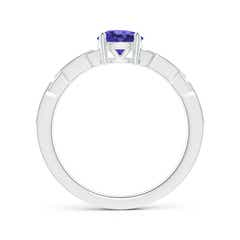 Toggle Classic Round Tanzanite Solitaire Ring with Diamond Accents