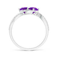 Toggle Round Amethyst Two Stone Bypass Ring with Diamonds