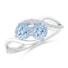 Round Aquamarine Two Stone Bypass Ring with Diamonds
