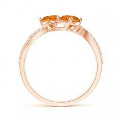 Toggle Round Citrine Two Stone Bypass Ring with Diamonds