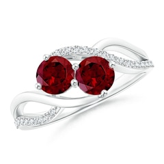 Round Garnet Two Stone Bypass Ring with Diamonds