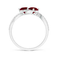 Toggle Round Garnet Two Stone Bypass Ring with Diamonds