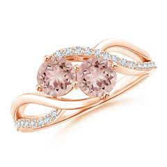 Round Morganite Two Stone Bypass Ring with Diamonds