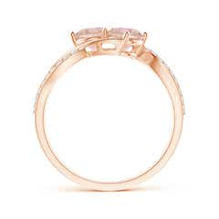 Toggle Round Morganite Two Stone Bypass Ring with Diamonds