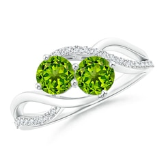 Round Peridot Two Stone Bypass Ring with Diamonds