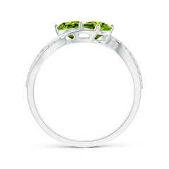 Toggle Round Peridot Two Stone Bypass Ring with Diamonds