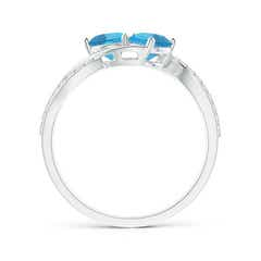 Toggle Round Swiss Blue Topaz Two Stone Bypass Ring with Diamonds