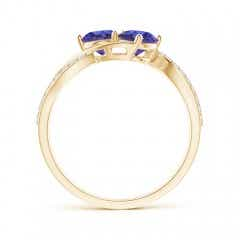 Toggle Round Tanzanite Two Stone Bypass Ring with Diamonds