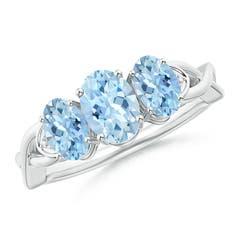 Criss-Cross Oval Aquamarine Three Stone Ring with Pave-Set Diamonds