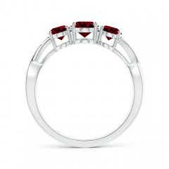 Toggle Oval Garnet Three Stone Criss-Cross Ring