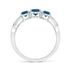 Toggle Oval London Blue Topaz Three Stone Criss-Cross Ring