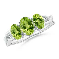 Oval Peridot Three Stone Criss-Cross Ring