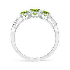Toggle Oval Peridot Three Stone Criss-Cross Ring
