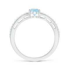 Toggle Solitaire Oval Aquamarine Bypass Ring with Diamond Accents