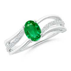 Solitaire Oval Emerald Bypass Ring with Diamond Accents