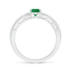Toggle Solitaire Oval Emerald Bypass Ring with Diamond Accents