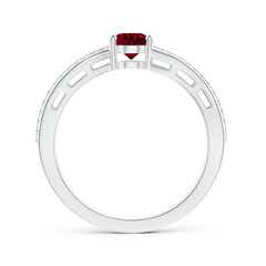 Toggle Solitaire Oval Garnet Bypass Ring with Diamond Accents