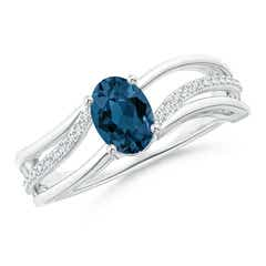 Solitaire Oval London Blue Topaz Bypass Ring with Diamonds