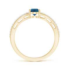 Toggle Solitaire Oval London Blue Topaz Bypass Ring with Diamonds