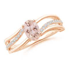 Solitaire Oval Morganite Bypass Ring with Diamond Accents