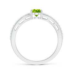 Toggle Solitaire Oval Peridot Bypass Ring with Diamond Accents