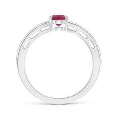 Toggle Solitaire Oval Pink Tourmaline Bypass Ring with Diamonds
