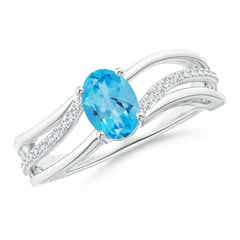 Solitaire Oval Swiss Blue Topaz Bypass Ring with Diamonds