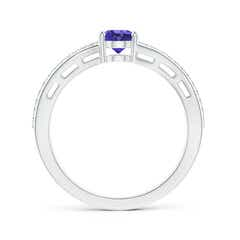 Toggle Solitaire Oval Tanzanite Bypass Ring with Diamond Accents