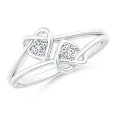 Two Stone Diamond Twin Heart Knot Ring