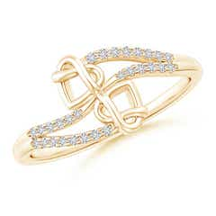 Split Diamond Knotted Twin Heart Ring