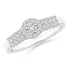Round Diamond Classic Halo Ring With Pretzel Heart-Motif